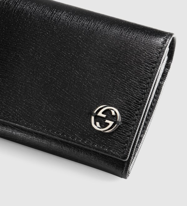 Gucci Leather Long Coin Wallet With Printed Interior In