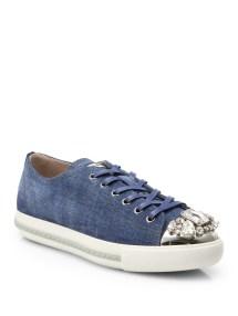 d11ddfa7ec54 Lyst Miu miu Denim Crystaltoe Laceup Sneakers in Blue