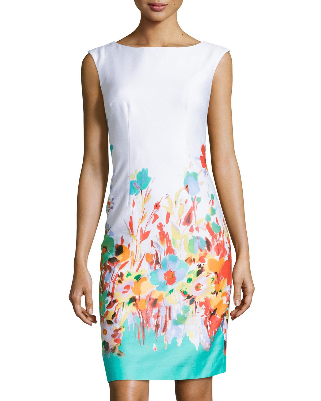 Lyst Chetta B Floral Print Sleeveless Sheath Dress In Blue