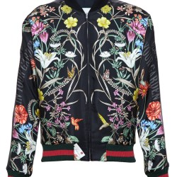 3de058c1896 Lyst Gucci Floral Print Embroidered Silk Bomber Jacket In Black