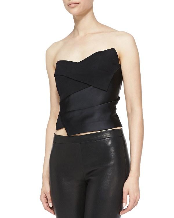 Donna Karan Tuxedo Bustier With Satin Panel In Black Lyst