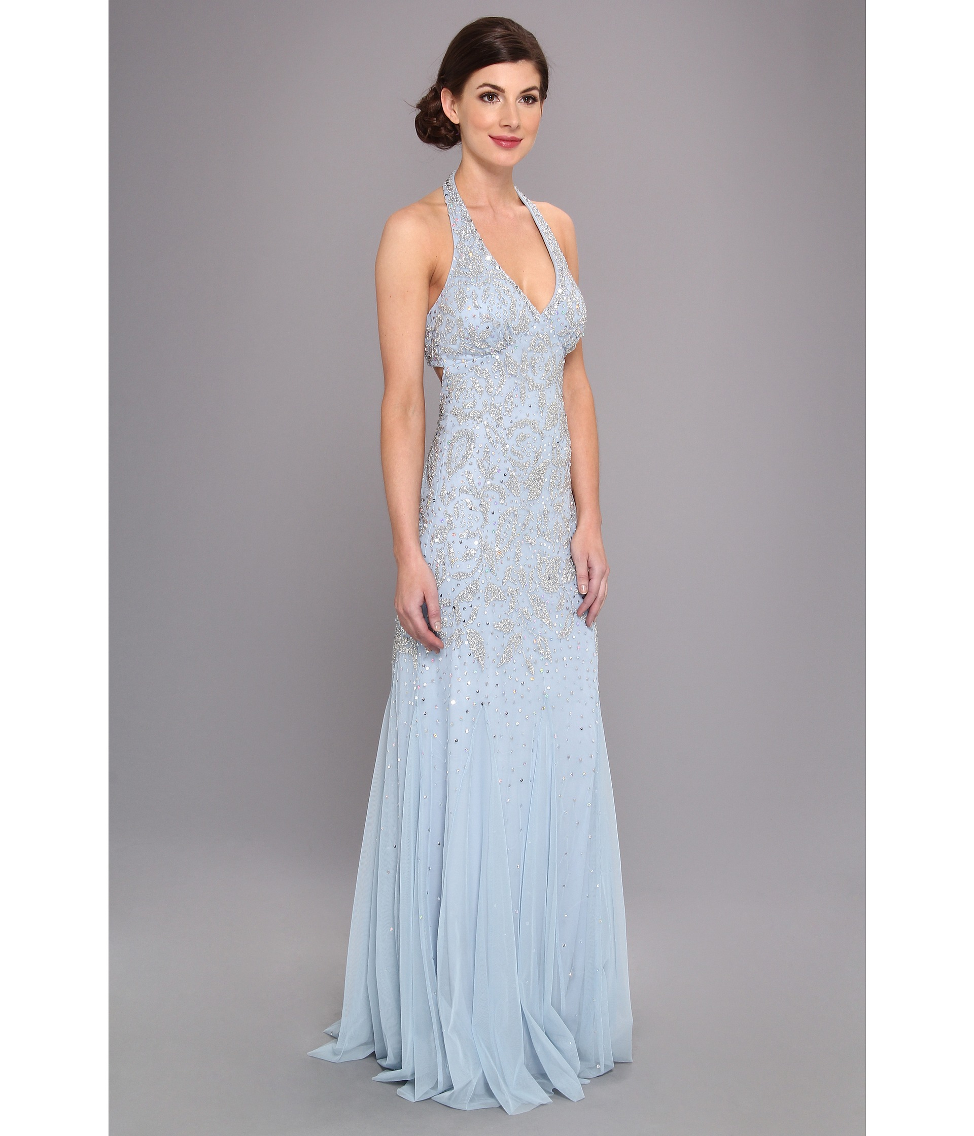 Adrianna papell Bead Halter Godet Gown Prom in Blue  Lyst
