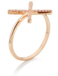 Aamaya by priyanka Rose Gold Vermeil X Ring in Gold (Rose ...