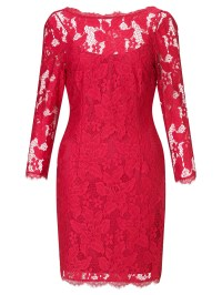 Adrianna papell 3/4 Sleeve Lace Cocktail Dress in Red | Lyst