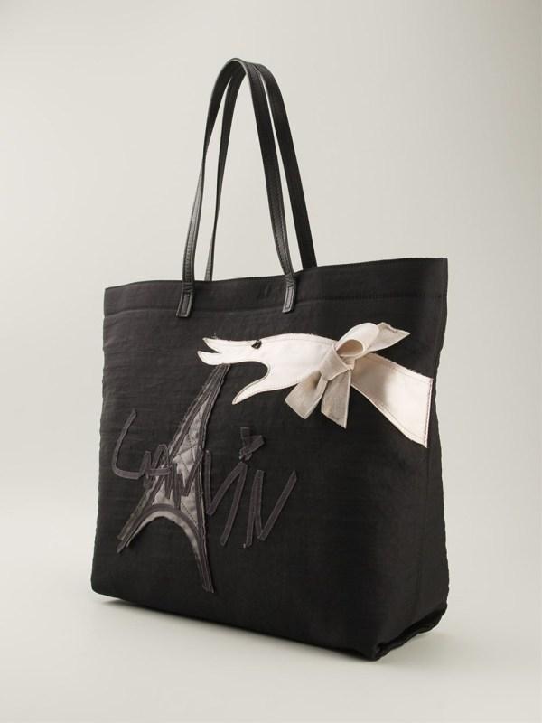 Lyst - Lanvin Embossed Eiffel Tower Shoulder Bag In Black