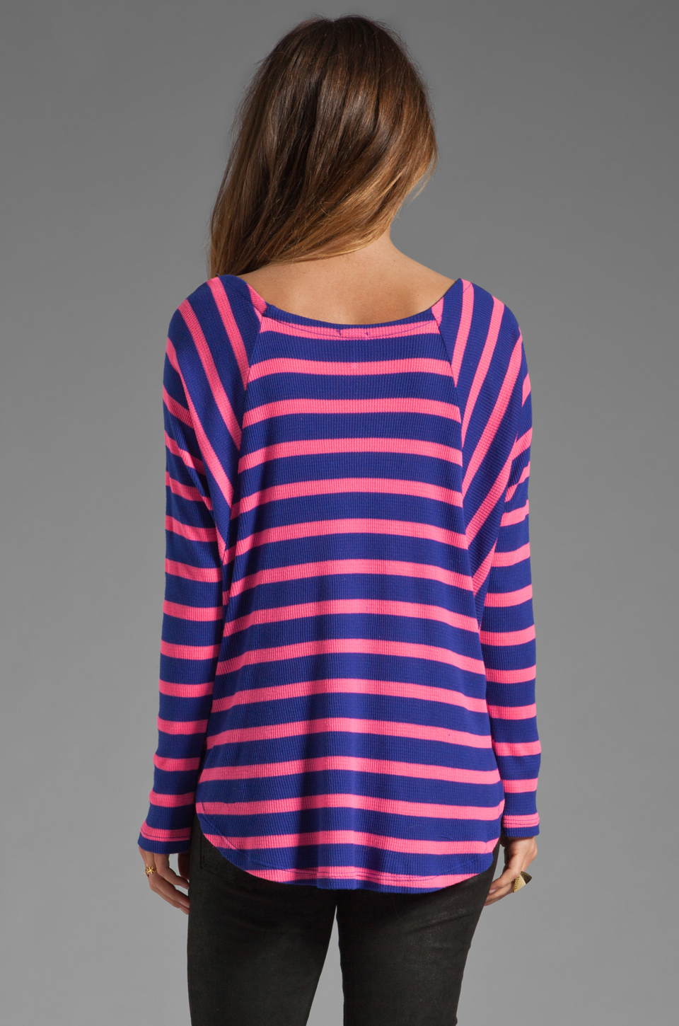 splendid pop stripe thermal top in purple