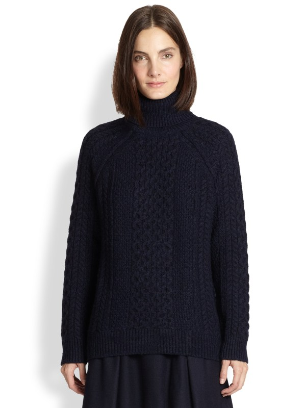 Vince Cable-knit Turtleneck Sweater In Blue Men Navy