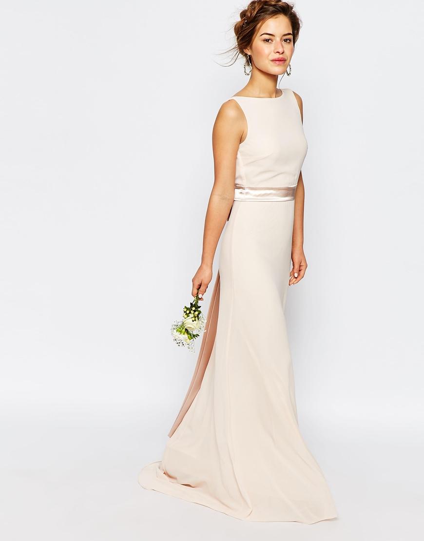 Tfnc london Wedding Sateen Bow Back Maxi Dress in Pink  Lyst