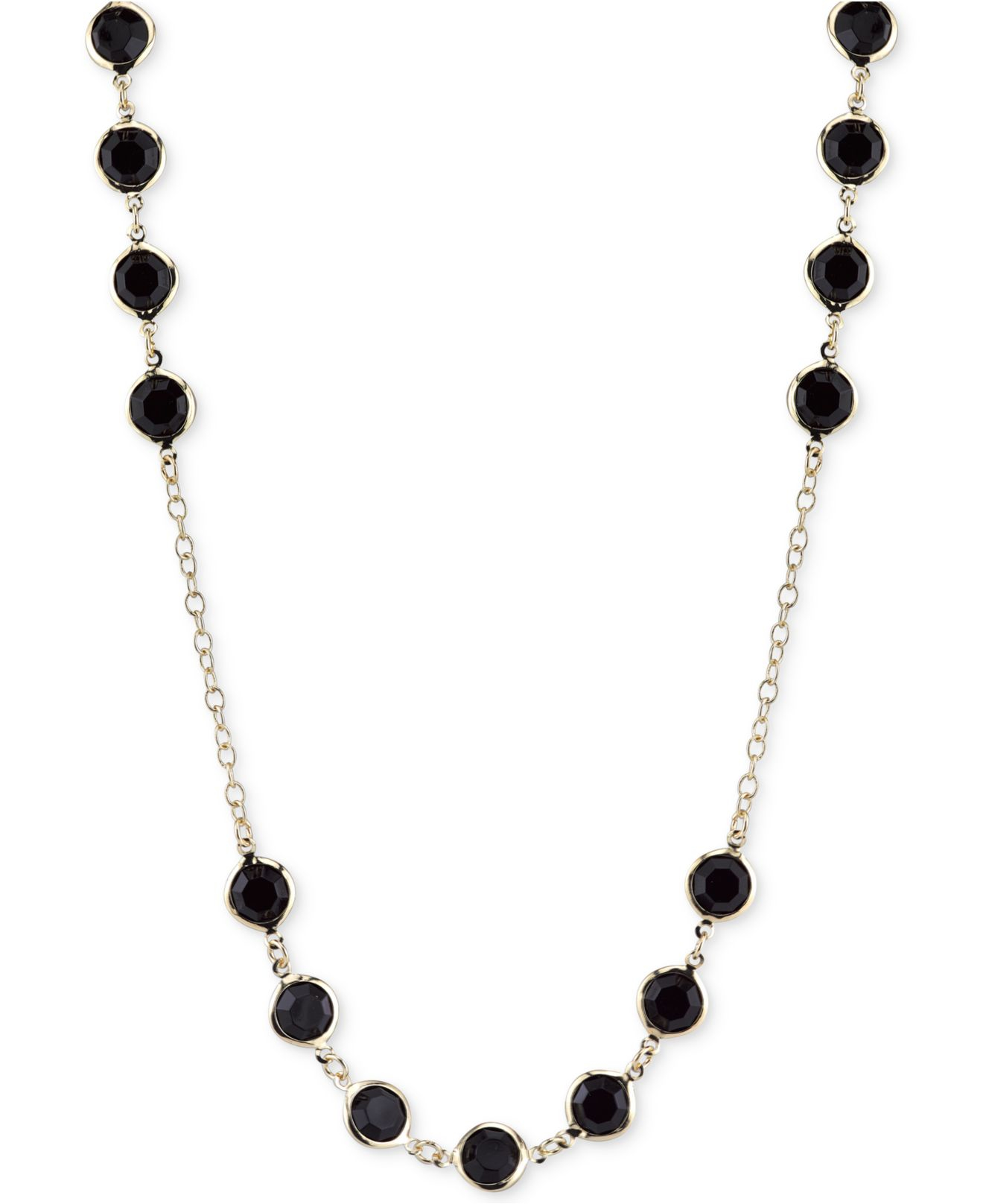 2028 Gold-tone Jet Stone Long Length Necklace in Black