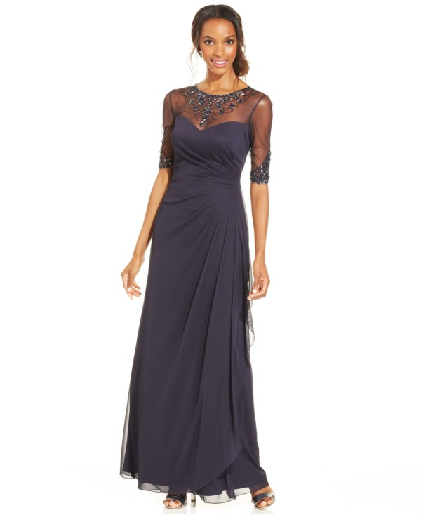 Lyst - Patra Embellished Illusion Draped Gown In Blue