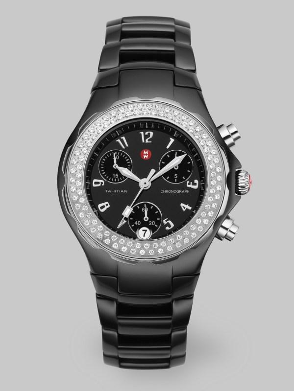 Michele Tahitian Ceramic Diamond Watch