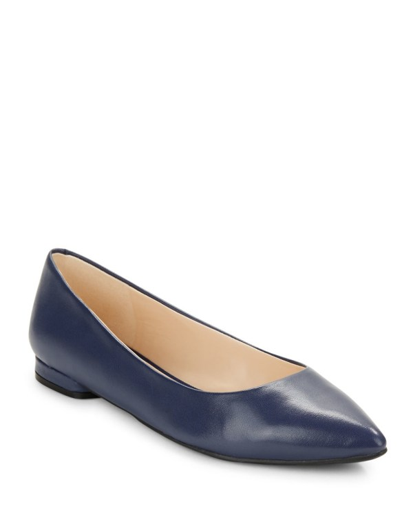 Nine West Onlee Leather Point-toe Flats In Blue Lyst