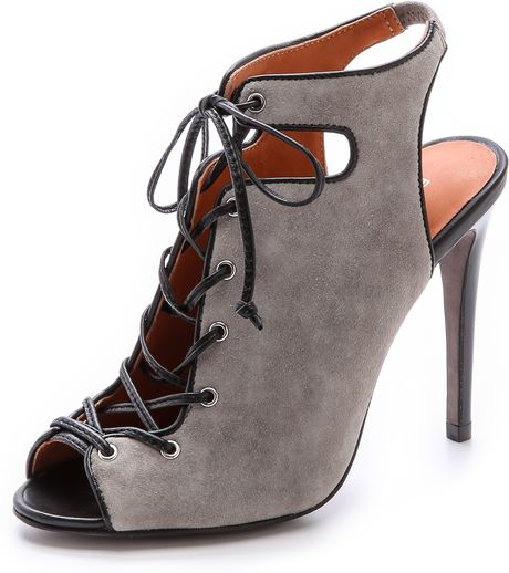 Rebecca Minkoff Rio High Heel Lace Up Sandals in Gray