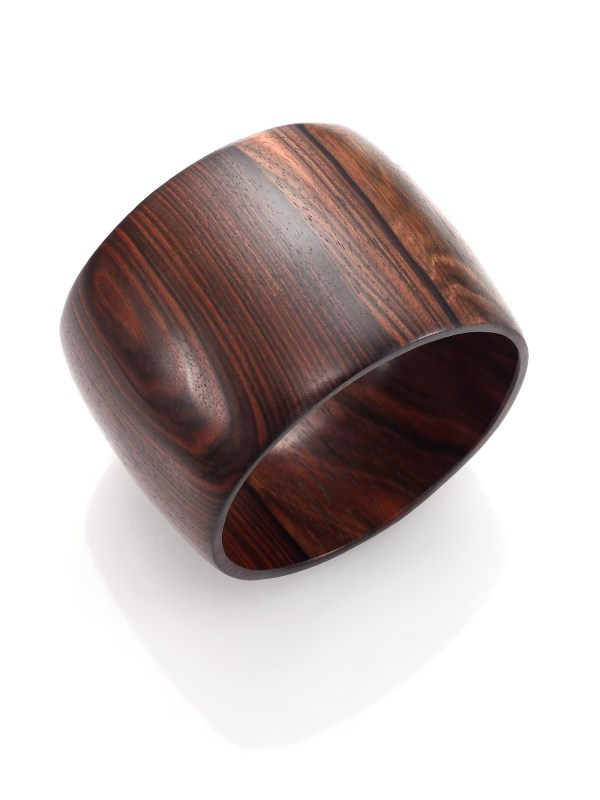 Lyst Nest Ebony Wood Wide Bangle Bracelet in Black