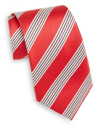Lyst - Saks Fifth Avenue Multistriped Silk Tie in Red for Men