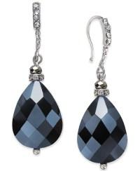 Inc international concepts Silver-tone Black Bead Teardrop ...