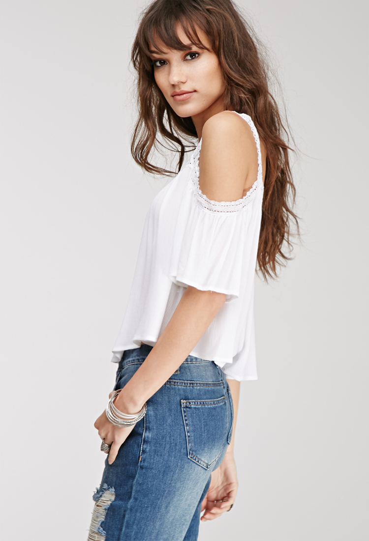 Lyst  Forever 21 Lacetrimmed Offtheshoulder Top in White
