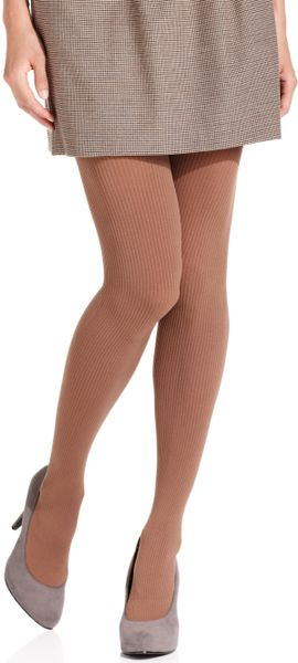 Hue Tights Ribbed Opaque Tights with Control Top in Blue