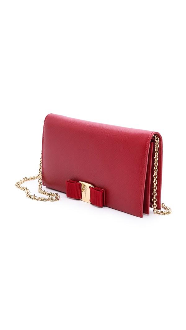 Lyst - Ferragamo Vara Bow Wallet Chain In Red