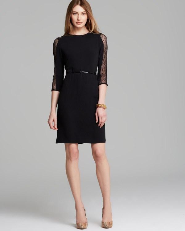Lyst - Calvin Klein Dress Lace Inset In Black