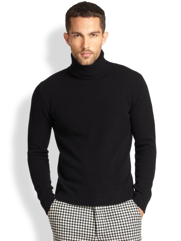 Black Wool Turtleneck Sweater Men