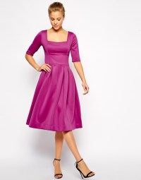 Asos Debutante Scuba Dress With Half Sleeve in Purple