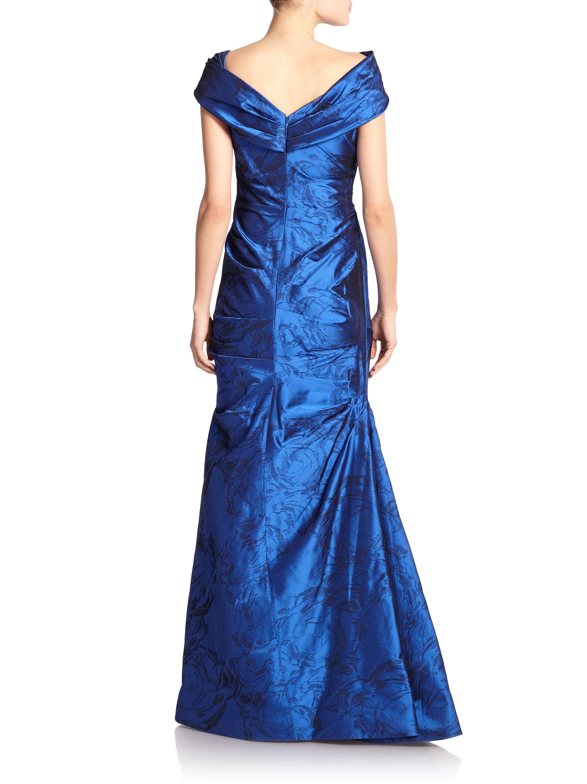 Lyst  Teri Jon Taffeta Offshoulder Gown in Blue