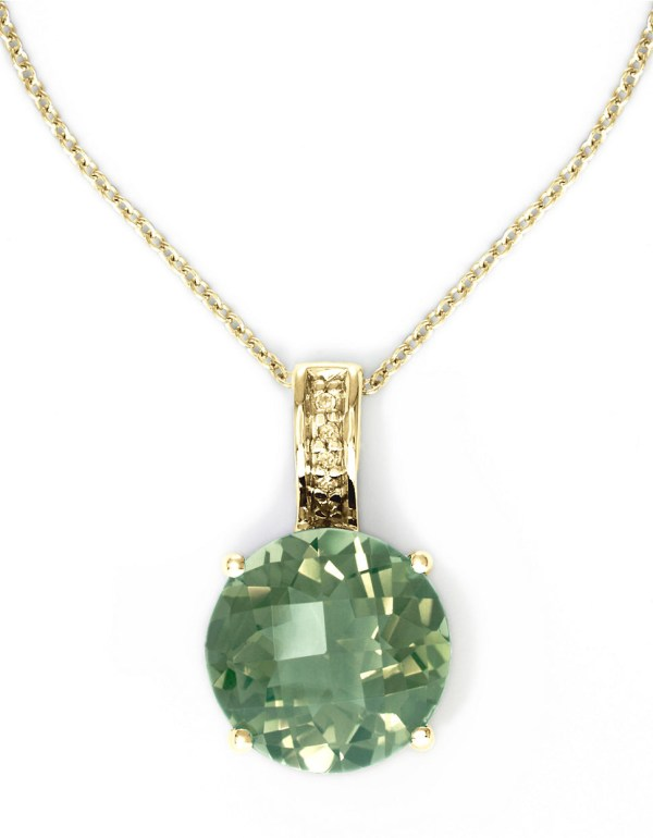 Effy 14k Yellow Gold And Green Amethyst Pendant Necklace With Diamonds In Purple Lyst