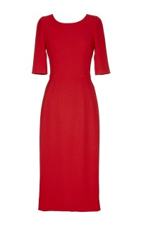 Lyst - Dolce & Gabbana Red Mid Sleeve Mid Length Dress in Red