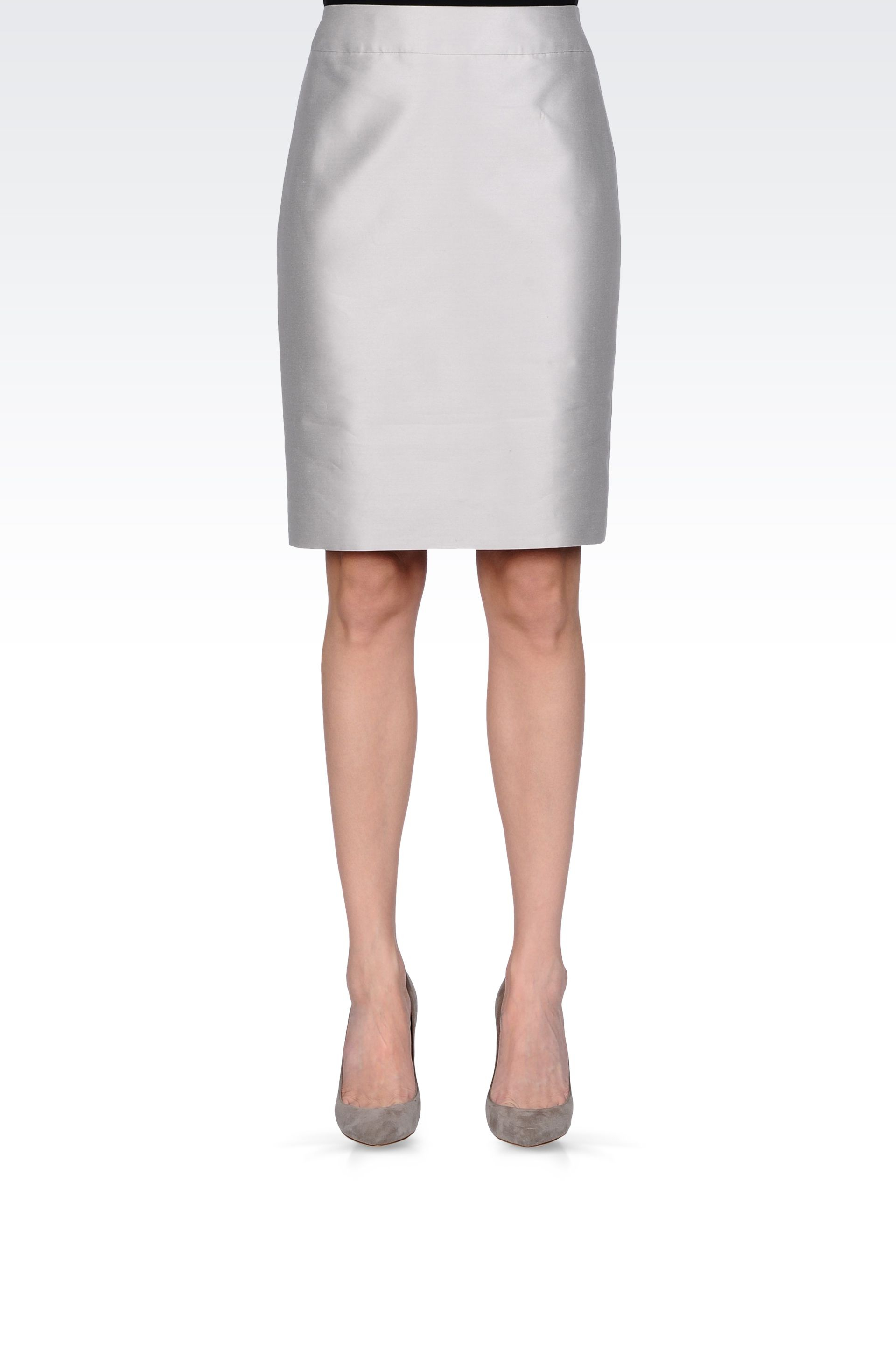 Armani Pencil Skirt In Cotton And Silk In Gray Lyst