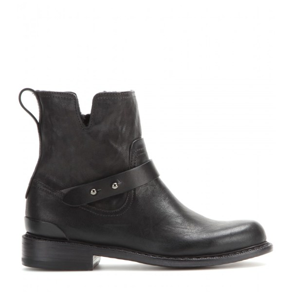 Rag & Bone Ashford Moto Leather Ankle Boots In Black