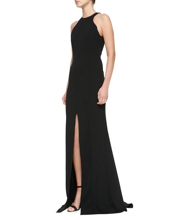 Escada Sleeveless Front-slit Open- Gown In Black Lyst