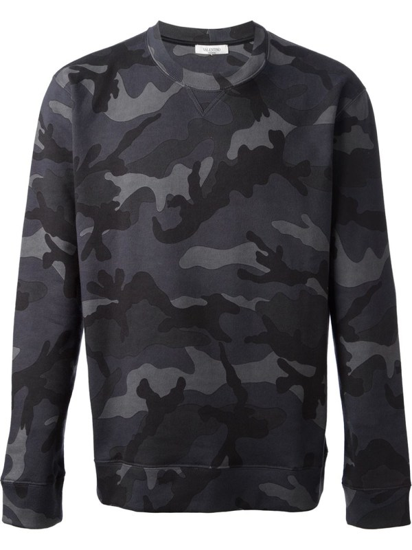 Valentino Camouflage Sweater In Gray Men Grey Lyst