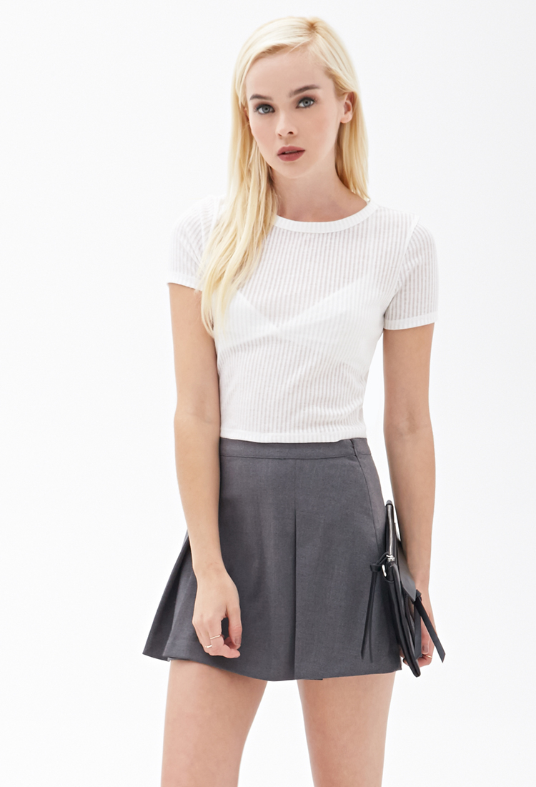 Forever 21 Ribbed Crop Top in White