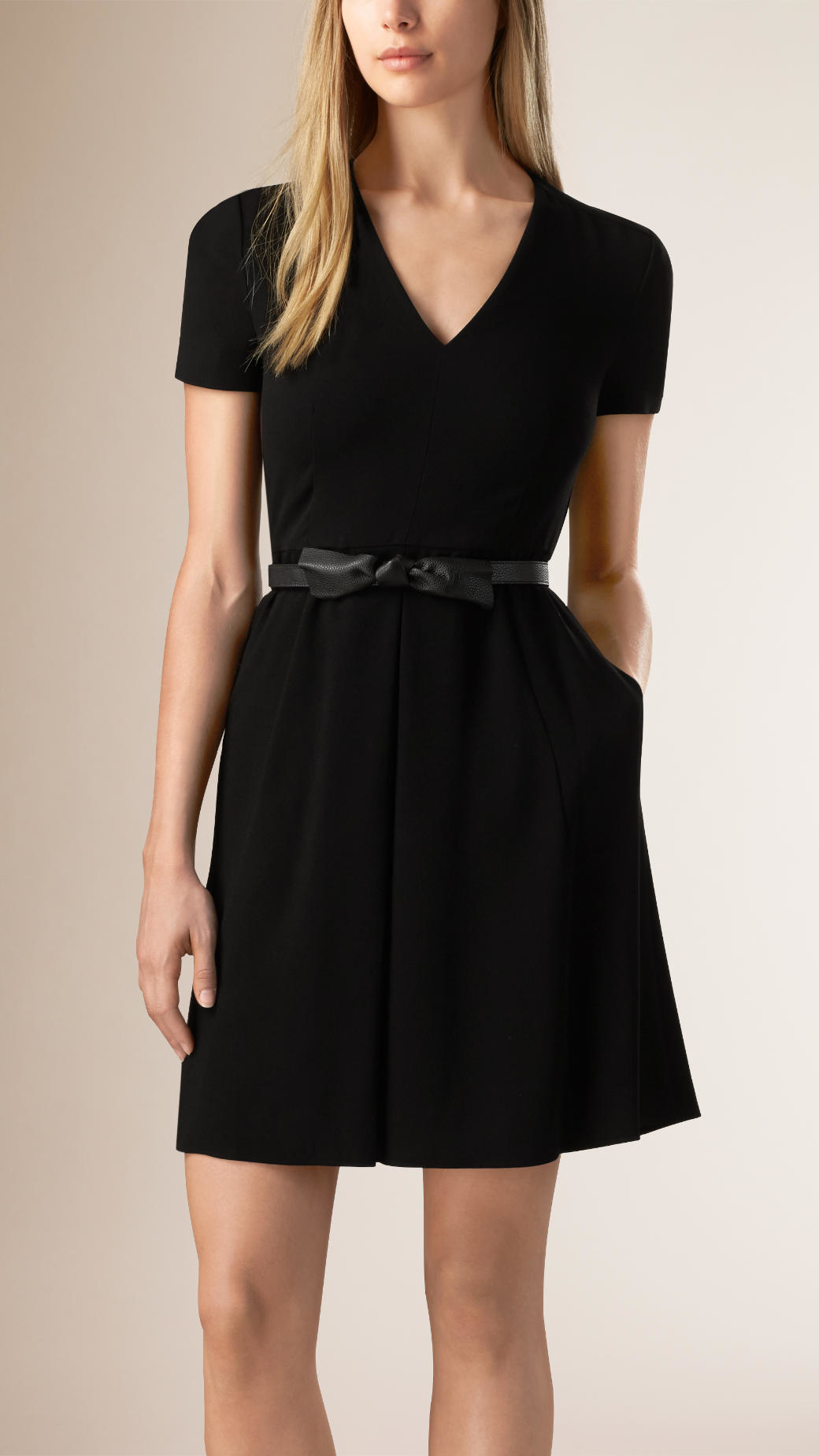 Lyst Burberry A Line Dress With Leather Belt In Black