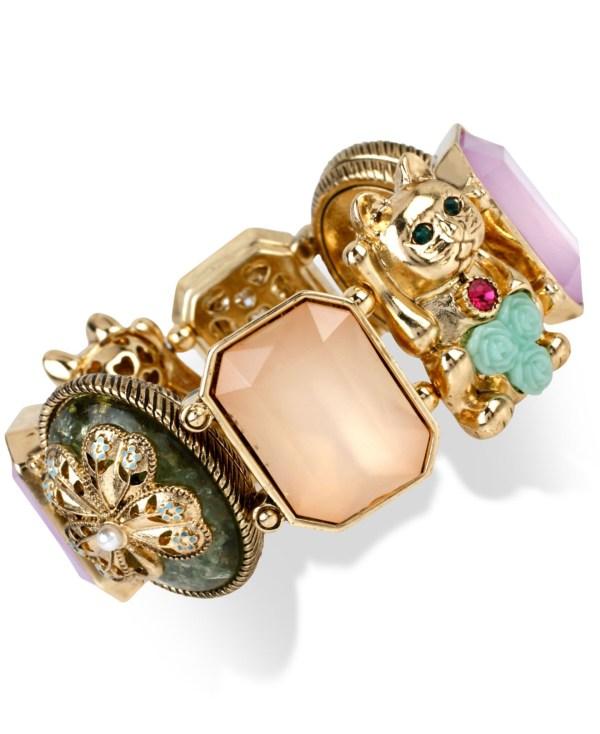Betsey Johnson Gold-tone Lucky Cat Stretch Bracelet Lyst