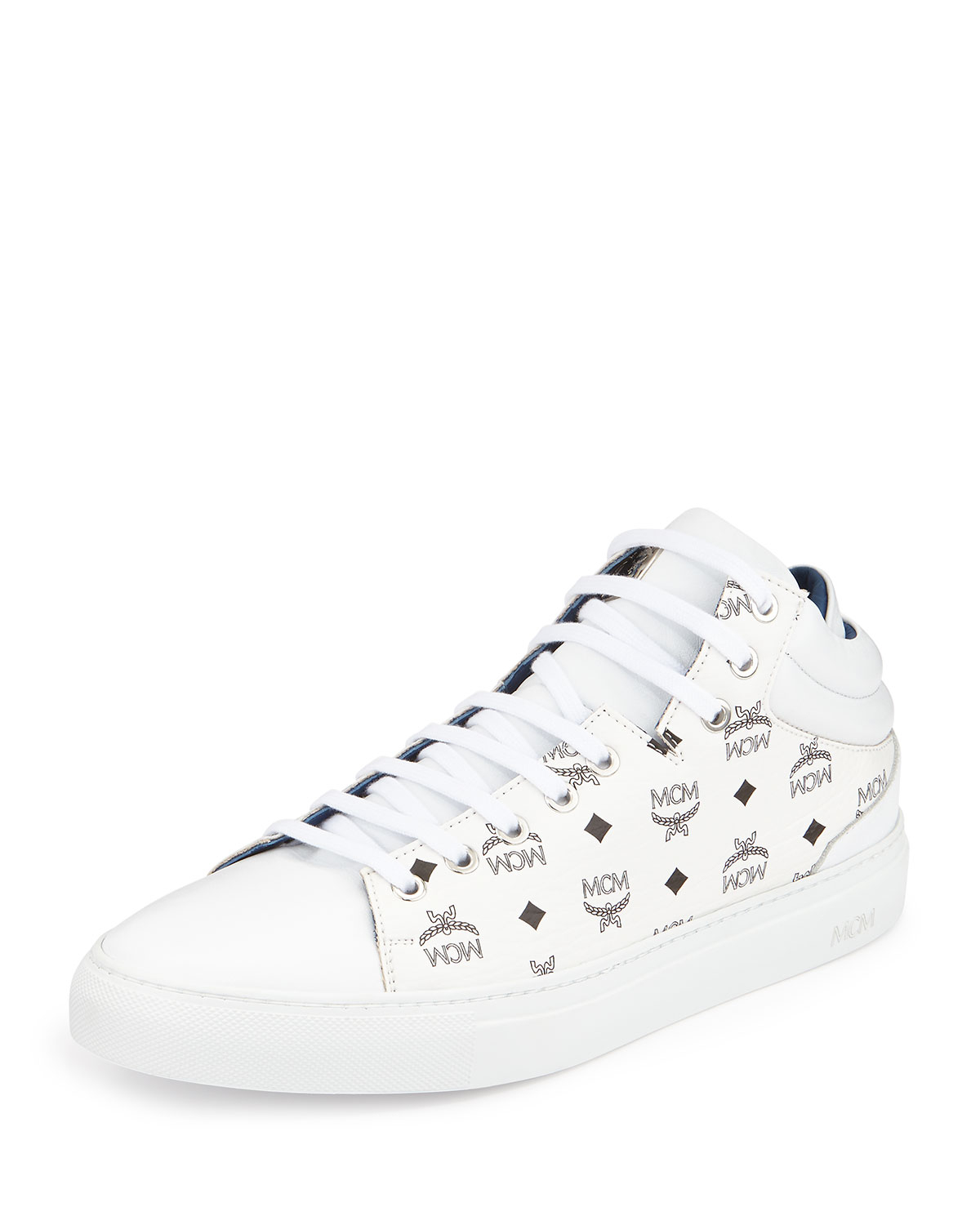 Mcm Monogrammed Low Top Sneakers In White For Men