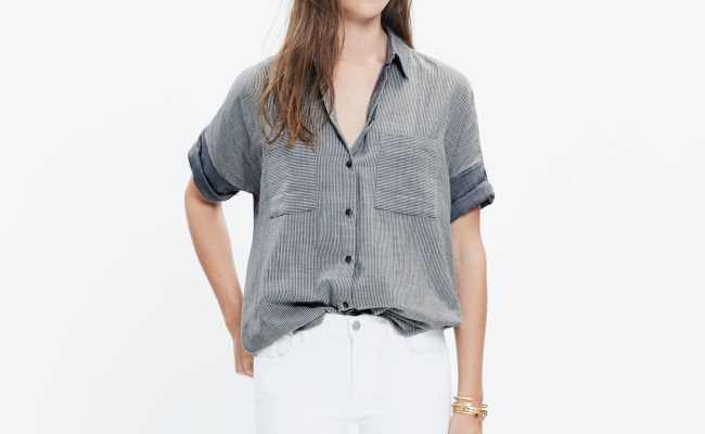 Lyst Madewell Courier Shirt In Lilydale Stripe In Gray