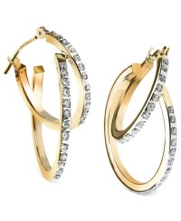 Macy's 14k Yellow Or White Gold Earrings, Diamond Accent ...