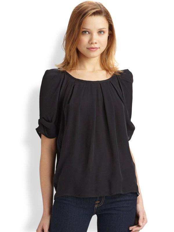 Short Sleeve Silk Blouse Joie