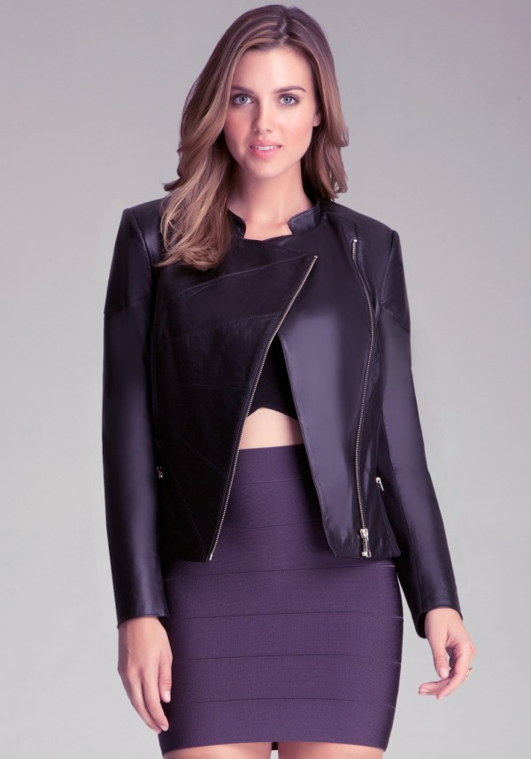 Lyst - Bebe Leather Moto Jacket In Black