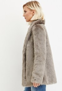 Forever 21 Shawl Collar Faux Fur Coat in Gray | Lyst