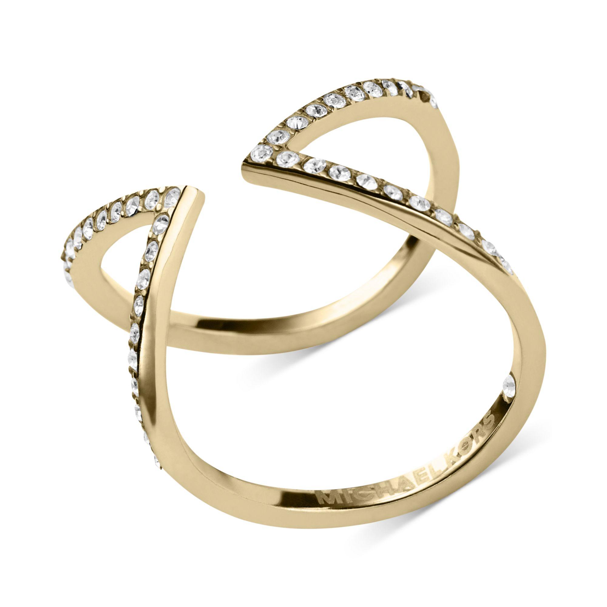 Michael Kors Open Arrow Clear Pav Ring in Gold
