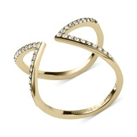 Michael Kors Open Arrow Clear Pav Ring in Gold | Lyst