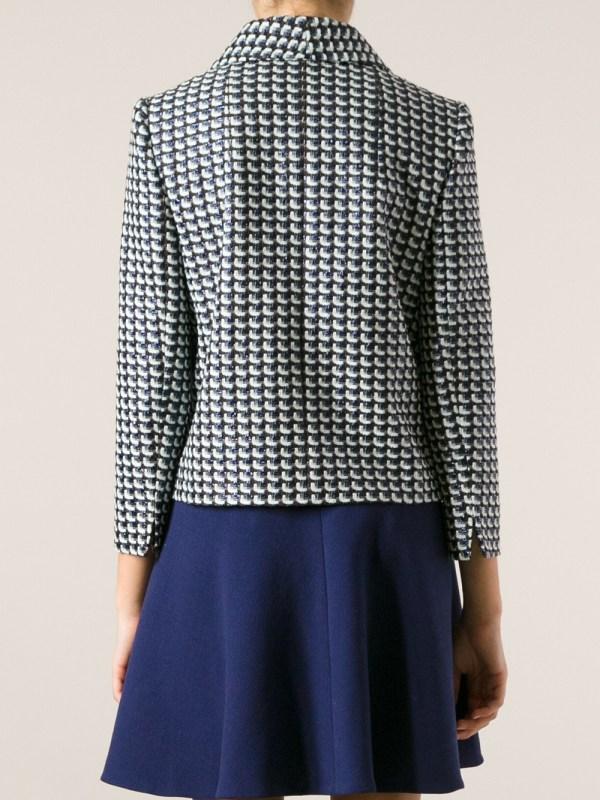 Carven Cropped Tweed Jacket In Blue Lyst