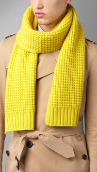 Lyst - Burberry Waffle Knit Cashmere Scarf in Yellow for Men