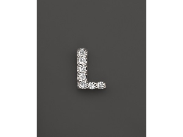 Kc Design Diamond Initial Stud Earring In 14k White Gold