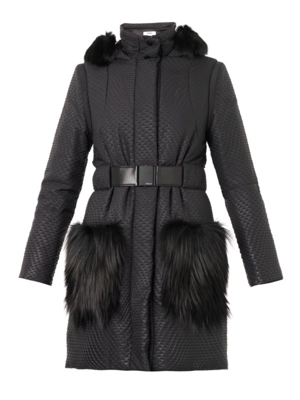 Fendi Fur-trimmed Quilted Ski Coat In Black Lyst