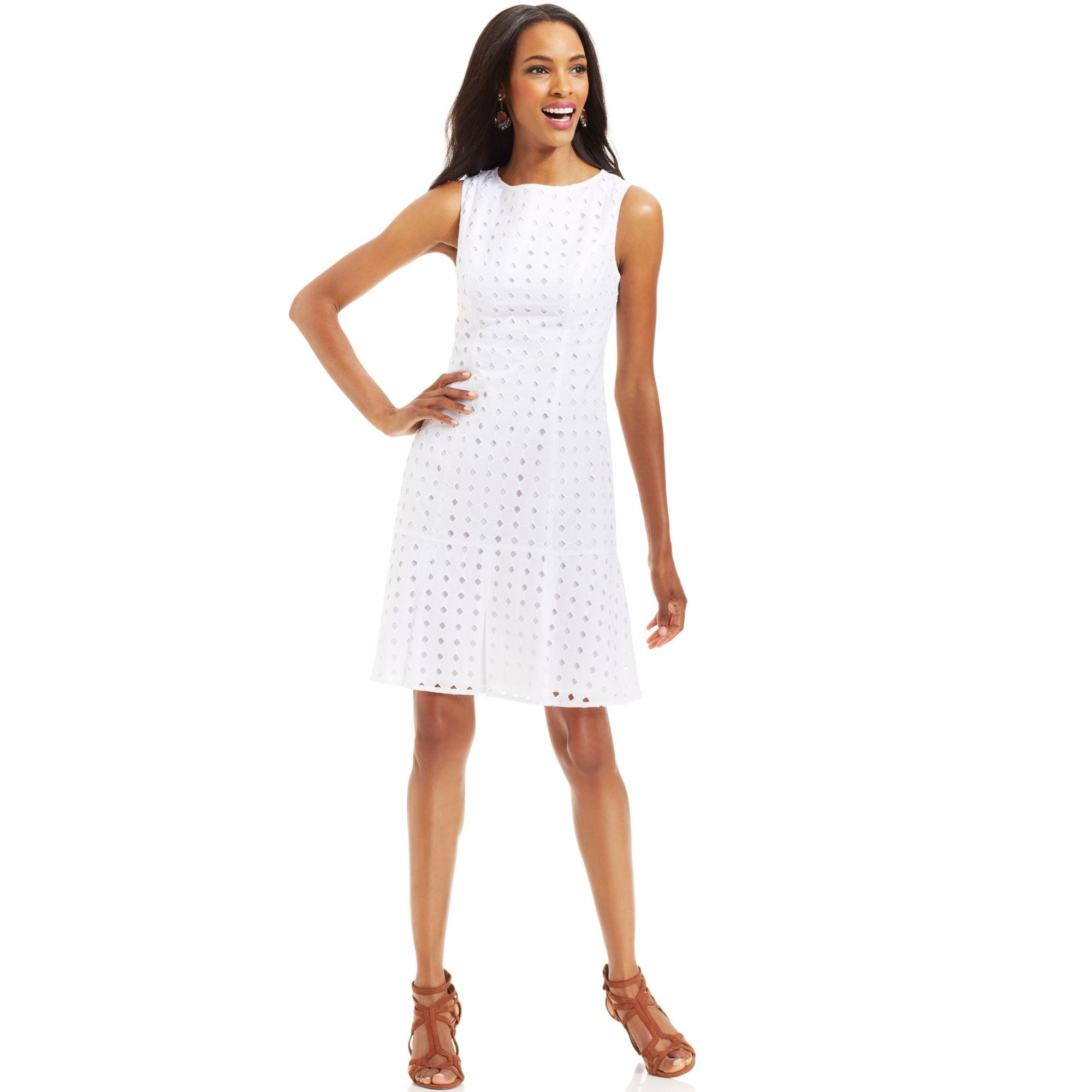 Nine West Sleeveless Cotton Eyelet Dress in White
