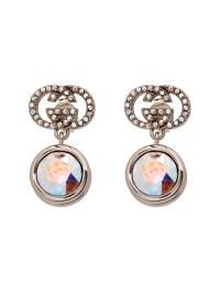 Gucci Crystal-Embellished Logo Earrings in Metallic | Lyst